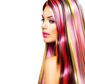 Beauty Fashion Model Girl with Colorful Dyed Hair — Foto Stock