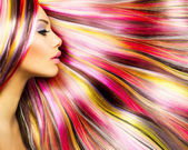 Beauty Fashion Model Girl with Colorful Dyed Hair — Stock Photo