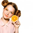 Model Girl with Juicy Orange. — Stock Photo #48638559