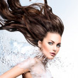 Model with water splash and long  hair — Stock Photo #48638757