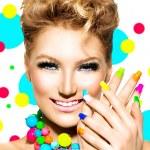 Girl with Colorful Makeup, Nail polish — Stock Photo #48638775