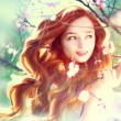 Girl with long red blowing hair — Stock Photo
