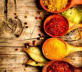 Curry, saffron, turmeric, cinnamon — Stock Photo