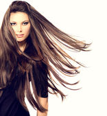 Girl  with Long Blowing Hair. — Stock Photo