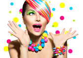 Beauty Portrait with Colorful Makeup — Stok fotoğraf