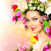 Girl with Flowers Hair Style — Stock Photo