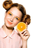 Model Girl with Juicy Orange. — Stock Photo