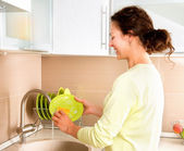 Woman Washing Dishes. Kitchen — Stock Photo