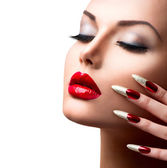Model Girl. Manicure and Make-up — Stok fotoğraf