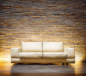 Leather beige sofa — 图库照片