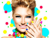 Girl with Colorful Makeup, Nail polish — Stock Photo