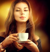 Model Girl with the Cup Tea — Stock Photo