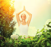 Young Woman doing Yoga Exercises — Stock Photo