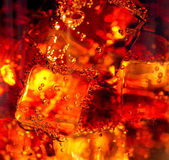 Cola with ice and bubbles in glass — Photo