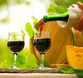 Queijo e vinho tinto. — Foto Stock