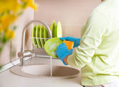 Woman Washing Dishes. — Stock Photo