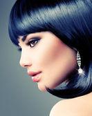 Brunette Woman. Bob Haircut. — Foto Stock