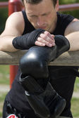 After training on boxing — Stock Photo