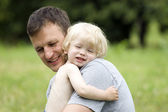 The happy child with the father — Stock Photo