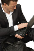 The businessman shows on the computer — Stock Photo