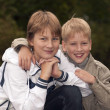 Happy brothers having fun in park — Stock Photo