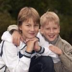 Happy brothers having fun in park — Stock Photo