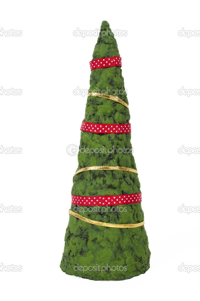纸浆糊的手工制作圣诞树