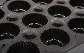 Empty box of chocolates shapes background — Stock Photo