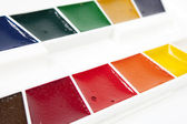 Water color palettes. close up — Stock Photo
