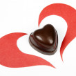 Royalty-Free Stock Photo: Heart from paper and heart shape chocolate. Valentine