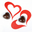 Heart from paper and heart shape chocolate. Valentine — Stock Photo