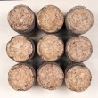 Close-up of group of Champagne corks — Stock Photo