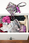 Drawers filled with sexy lace lingerie — Stock Photo