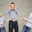 Father and two sons connected by rope — Stock Photo #44729049
