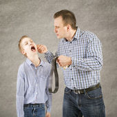 Father punishes son. — Stock Photo