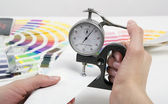 Measurement by  micrometer — Stock Photo