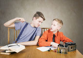 Boys conflict . Experiences with test tubes — Stock Photo