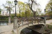 Locks of lovers  on bridge railings — Foto de Stock