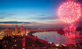 Fireworks evening promenade Kiev Ukraine — Stock Photo