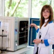 Young girl in a laboratory — Stock Photo