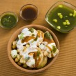 Dahi Bhalle Chaat or Stuffed Panipuri with Curd and Sweet Tamari — Stock Photo