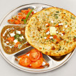 Chana masala with vegetable stuff paratha — Stock Photo