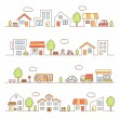 Stores and houses on a street — Stock Vector