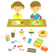 Royalty-Free Stock Vector Image: Kids,have a snack