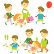 Royalty-Free Stock Vector Image: Family,shopping,picnic