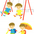 Playing kids — Stock Vector