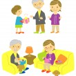 Royalty-Free Stock Vector Image: Gift for grand paraents, old couple on sofa