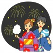 图库矢量图片: Fireworks in Japan, young couple, yukata