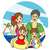 Family at the sea, summer vacation — Stock Vector