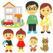 Stock Vector: Family, children, house, dog, car